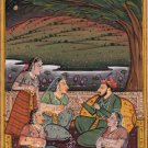 Moghul Painting Mughal Harem Miniature Handmade Indian Classic Exotic Artwork