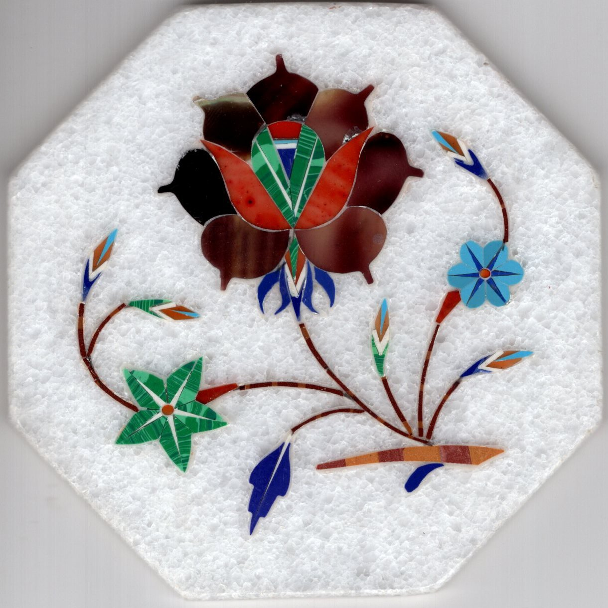 Parchin Kari Marble Inlay Art Handmade 4� Floral Mosaic Pietra Dura Decor Art