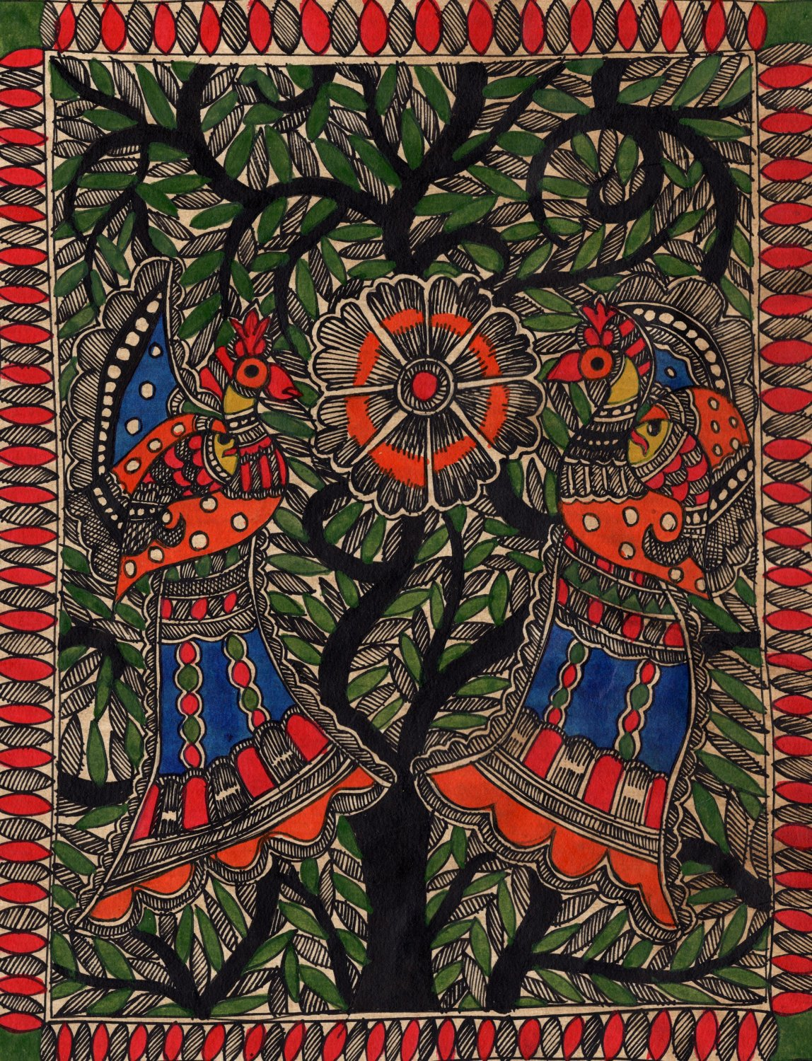 Madhubani Painting Handmade Indian Miniature Mithila Tree of Life Ethnic Art