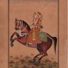Mughal Dynasty Miniature Painting Stunning Royal Moghul Emperor Equestrian Art