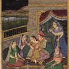 Erotic Mughal Painting Handmade Moghul Miniature Romantic Harem Watercolor Art