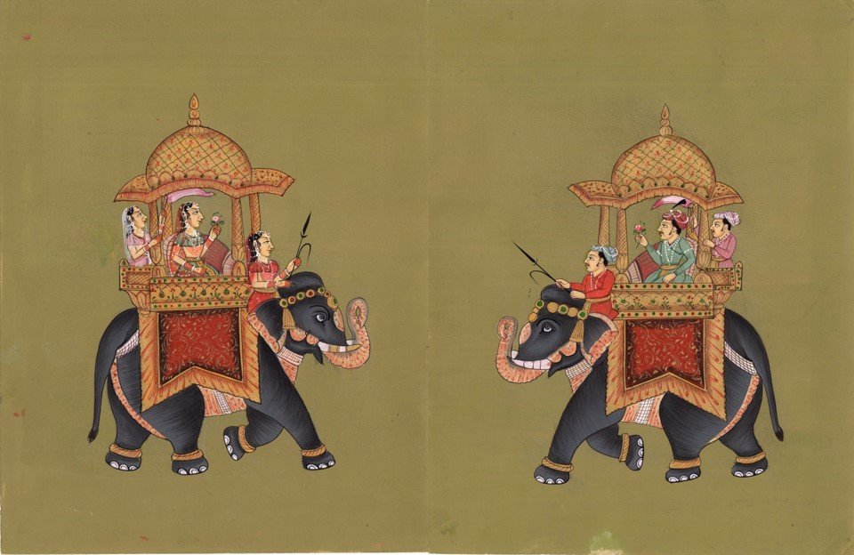 Mughal Miniature Royal Painting Rare Handmade Ambabari King Elephant India Art