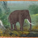 Asian Elephant Painting Handmade Wild Life Miniature Animal Watercolor Art