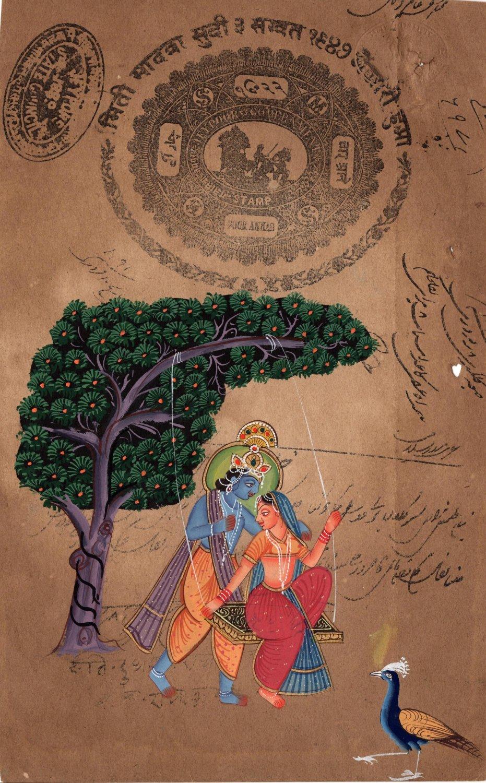 Lord Krishna Radha Hindu Handmade Artwork Stamp Paper Hindu Religion Painting
