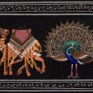 Indian Handmade Miniature Painting Elephant Horse Camel Peacock Bull Tiger Art