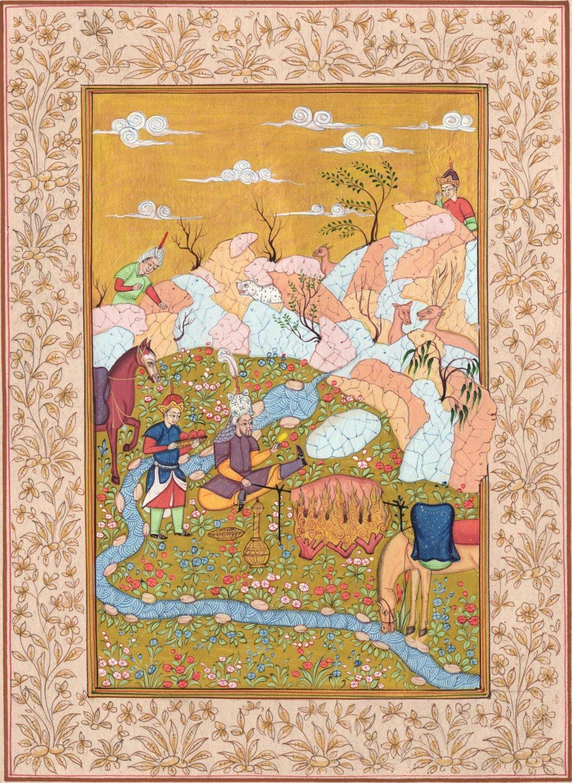 Persian Ottoman Turkish Style Painting Handmade Indo Islamic Miniature Decor Art