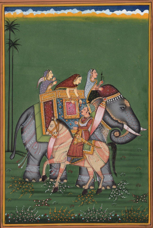Mughal Empire Miniature Painting Handmade Indian Moghul Emperor Ethnic Decor Art