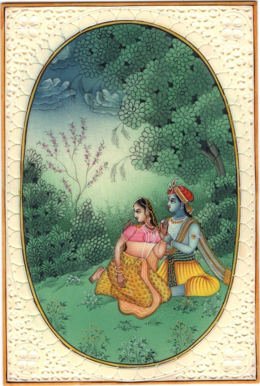 Krishna Radha Relationship Painting Handmade Hindu Deity Miniature Drawing Art
