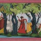 Krishna Radha Painting Handmade India Pahari Miniature Religious Ethnic Folk Art