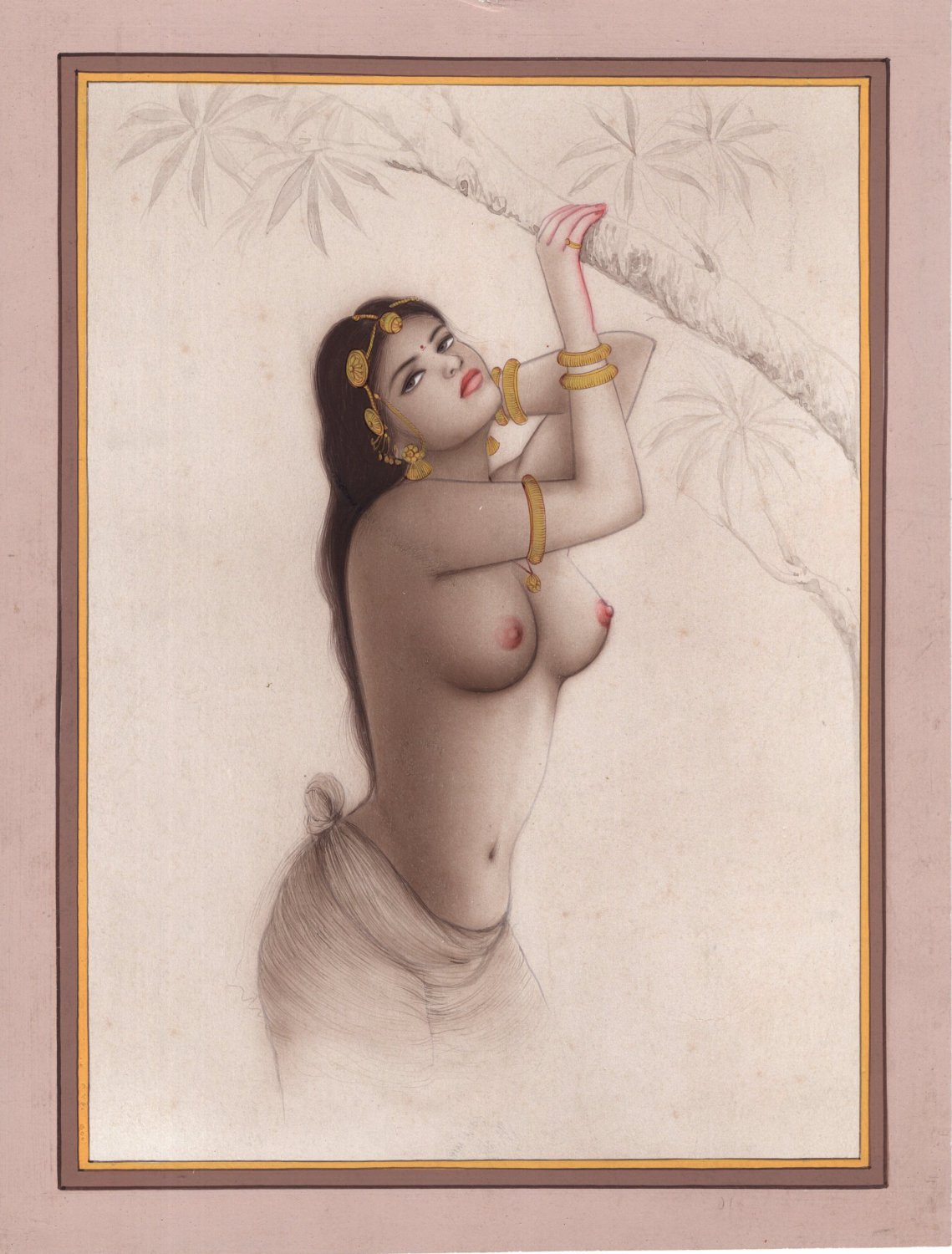 Indian Miniature Semi Nude Portrait Painting Handmade Erotic Decor Ethnic Art