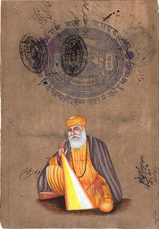 Guru Nanak Dev Sikh Art Handmade Punjab Sikhism Religion Stamp Paper Painting