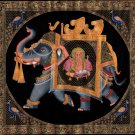 Indian Ganesha Elephant Peacock Decor Painting Handmade Miniature Rajasthan Art