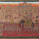 Indian Rajasthani Miniature Painting Udaipur Maharajah Handmade Procession Art