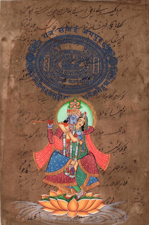 Krishna Radha Handmade Painting Hindu Religious God Goddess Watercolor Image Art