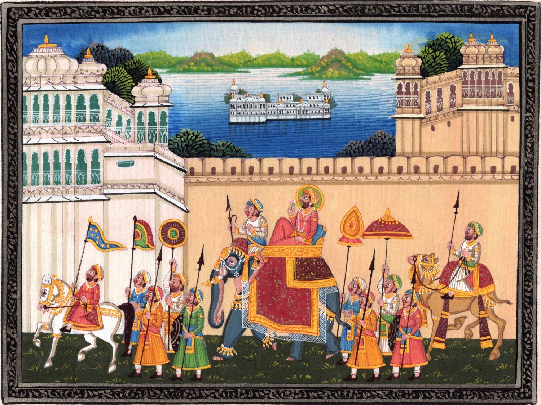 India Miniature Painting Rajasthan Maharana Udaipur Handmade Procession Folk Art