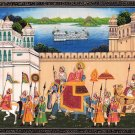 India Miniature Painting Rajasthan Maharana Udaipur Handmade Procession Folk Art