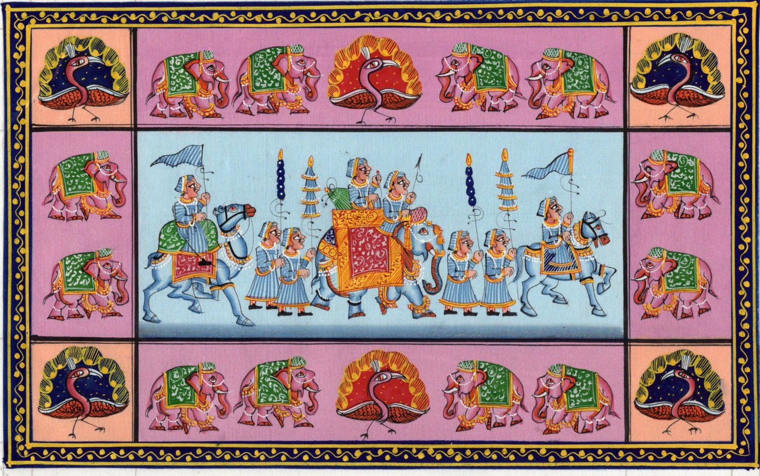 Rajasthan Miniature Painting Indian Ethnic Royal Emperor Procession Folk Artwork
