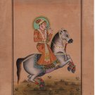Indian Miniature Equestrian Portrait Painting Handmade Rajasthani Maharajah Art