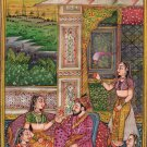 Mughal Miniature Painting Handmade Moghul Emperor Royal Palace Mogul Empire Art