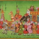 Rajasthani Miniature Painting Handmade Royal Maharaja Procession Indian Folk Art