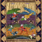 Indian Art Persian Islamic Illuminated Manuscript Handmade Miniature Painting