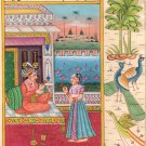 Mughal Miniature Painting Handmade Erotic Harem Moghul Watercolor Paper Artwork