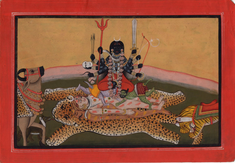 Tantric Kali Shiva Goddess Art Handmade Divine Hindu Religion Spiritual Painting