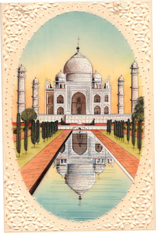 Indian Miniature Taj Mahal Painting Handmade Monument Architecture History Art