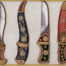 Indo Islamic Arms Art Handmade Decorated Dagger Scabbard Mughal Weapon Painting