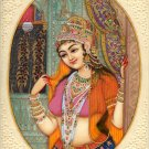 Indian Mughal Princess Miniature Painting Handmade Lady Portrait Ethnic Folk Art