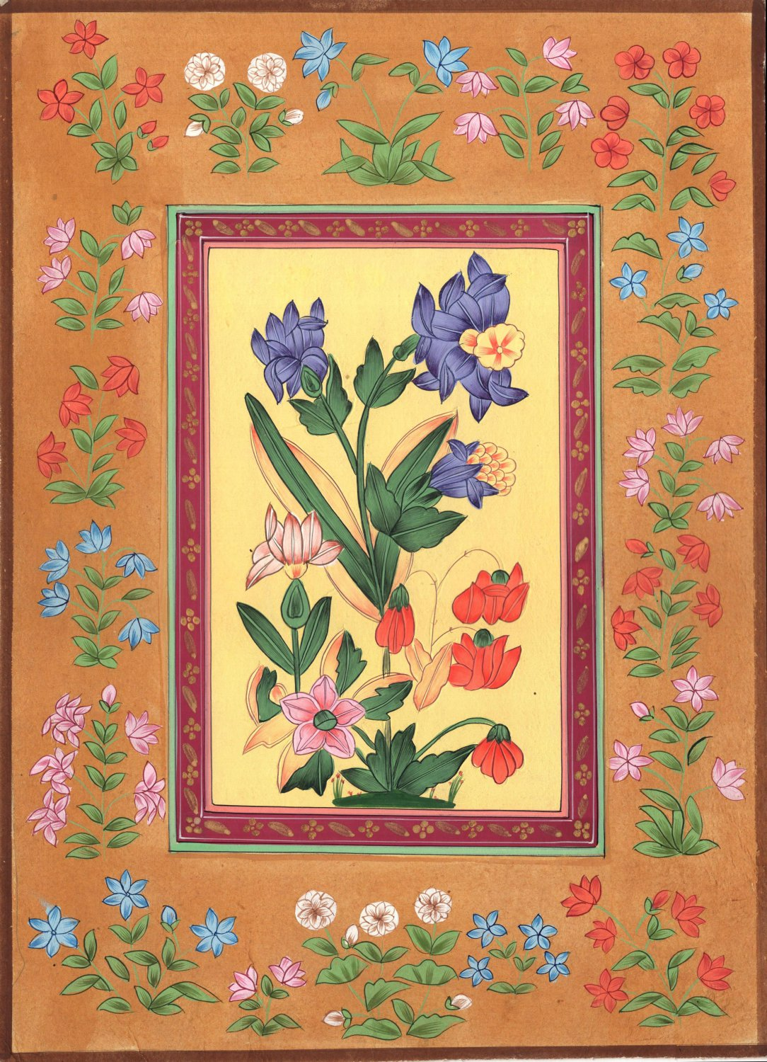 Mughal Floral Painting Handmade Moghul Indian Flower Miniature Nature Floral Art
