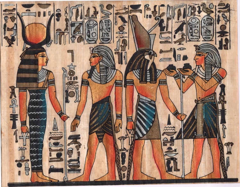 Egyptian Papyrus Pharaoh Art Handmade Egypt Decor Miniature Historical Painting