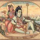 Shiva Parvati Baby Ganesha Art Handmade Spiritual Hindu Indian Decor Painting