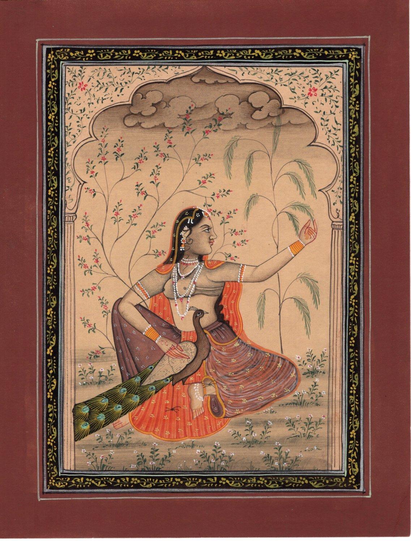 Sorathi Ragini Miniature Painting Indian Rajasthani Ethnic Handmade Ragamala Art