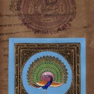 Indian Peacock Bird Miniature Painting Handmade Nature Old Stamp Paper Decor Art