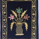 Indian Velvet Embroidery Art Handmade Jaipur Floral Vase Decor Ethnic Handicraft