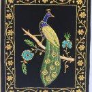 Indian Velvet Embroidery Art Handmade Floral Peacock Decor Ethnic Handicraft