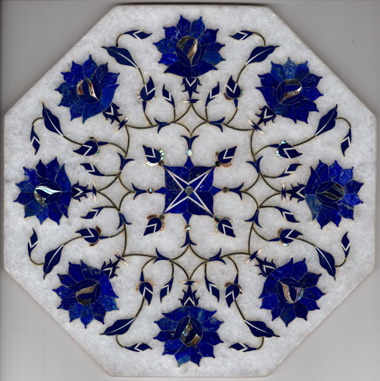 Marble Inlay Art Handmade 8� Parchin Kari Floral Mosaic Home Decor Indian Art