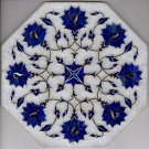 Marble Inlay Art Handmade 8″ Parchin Kari Floral Mosaic Home Decor Indian Art