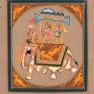 Rajasthan Indian Miniature Painting Maharaja Elephant Ethnic Folk Procession Art