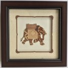 Elephant Nature Decor Art Handmade Wood Carving Indian Folk Marquetry Handicraft