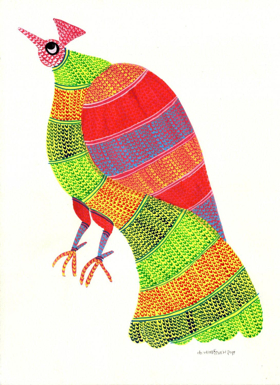 Gond Indian Painting Handmade Madhya Pradesh Tribal Folk Miniature Bird Art