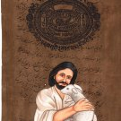 Jesus Christ Christian Art Rare Handmade Watercolor Painting on Old Stamp Paper