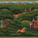 Moghul Empire Historical Hunt Art Hand Painted Indian Mughal Miniature Painting