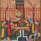 Persian Miniature Manuscript Painting Rare Illuminated Islamic Folk Handmade Art