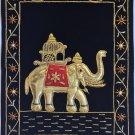 Indian Velvet Embroidery Art Handmade Jaipur Elephant Decor Ethnic Handicraft