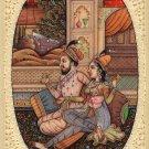 Mughal Painting Handmade Miniature Moghul Watercolor Romantic Indian Ethnic Art