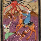Persian Indian Miniature Painting Handmade Rare Shah Dragon Hunt Mughal Folk Art