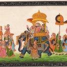 Rajasthani Miniature Folk Painting Handmade Indian Royal Maharaja Procession Art