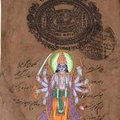 Vishnu Indian God Art Hindu Religious Handmade Miniature Spiritual Folk Painting